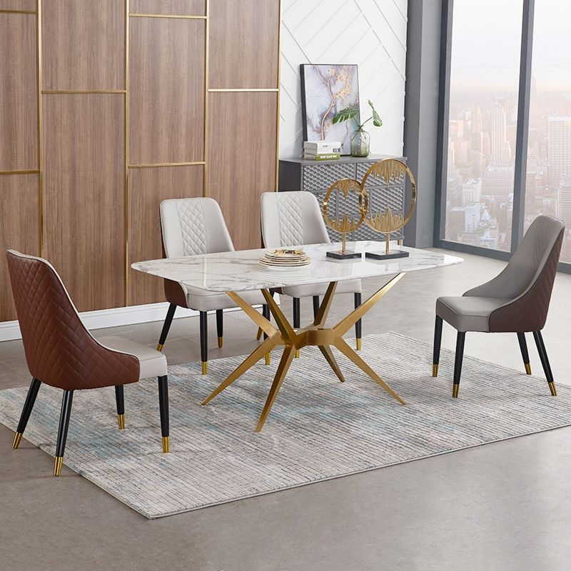 Rectangular 63 In 2020 Dining Table Gold Modern Dining Table Dining Table Marble