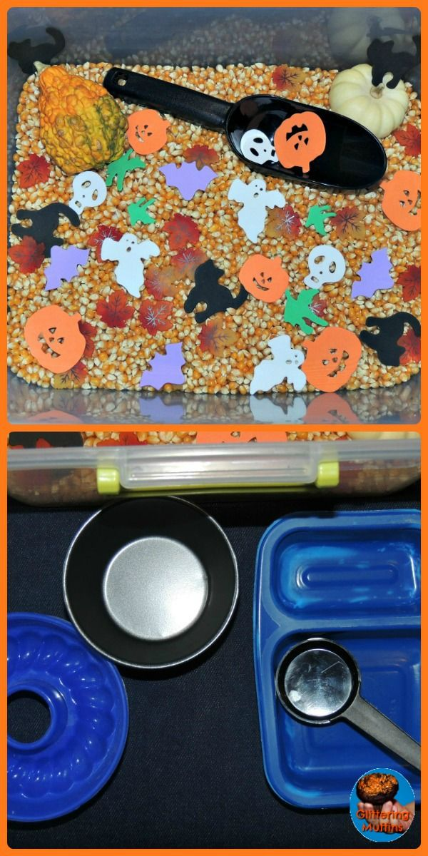 Halloween sensory bin from Glittering Muffins Kids\u0027 Halloween - preschool halloween decorations