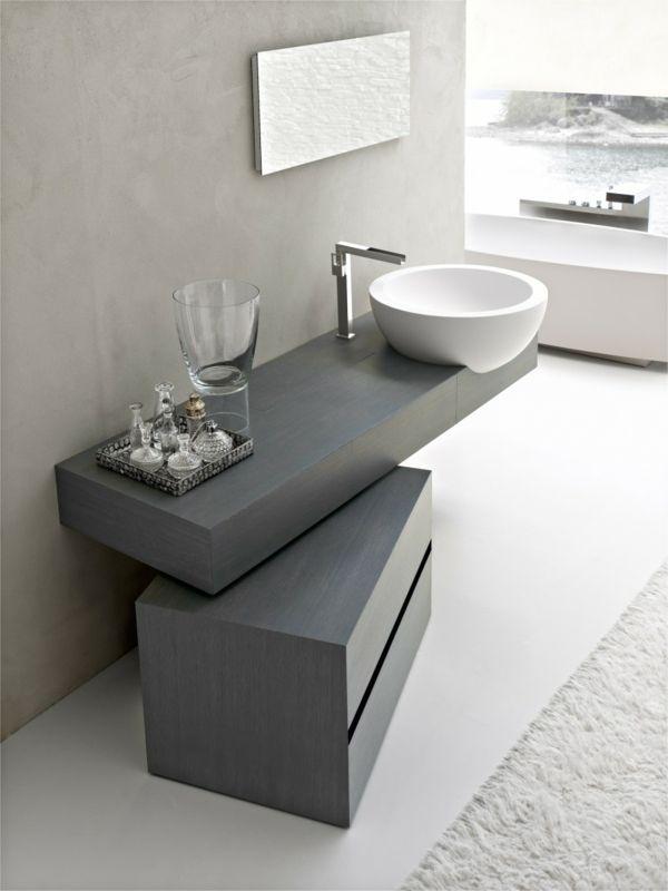 runde waschbecken graue einrichtung badezimmer gestalten