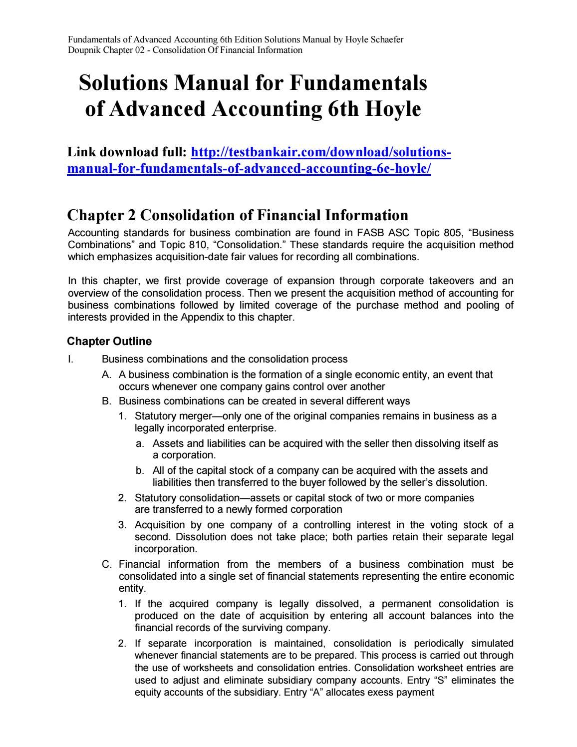 Solutions Manual for Fundamentals of Advanced Accounting 6th Hoyle | solutions  manual | Pinterest