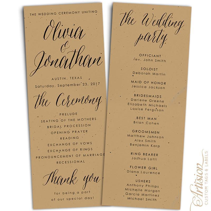 Wedding Programs 4 25 X 11 Kraft Wedding Programs Diy Wedding Programs Wedding Planning On A Budget