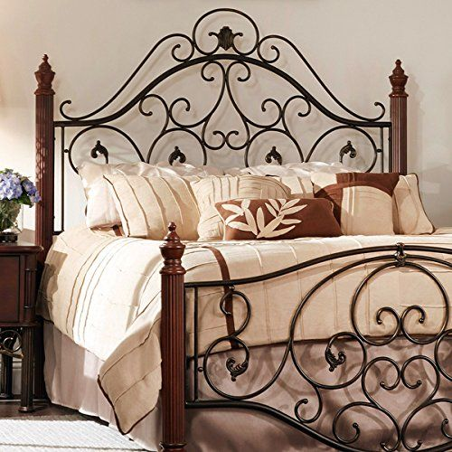 Queen Size Antique Style Wood Metal Wrought Iron Look Rustic Victorian Vintage Bed Frame Cherry Bronze Finish Scroll Design Queen Size Bed Frames Bed Frame Bed