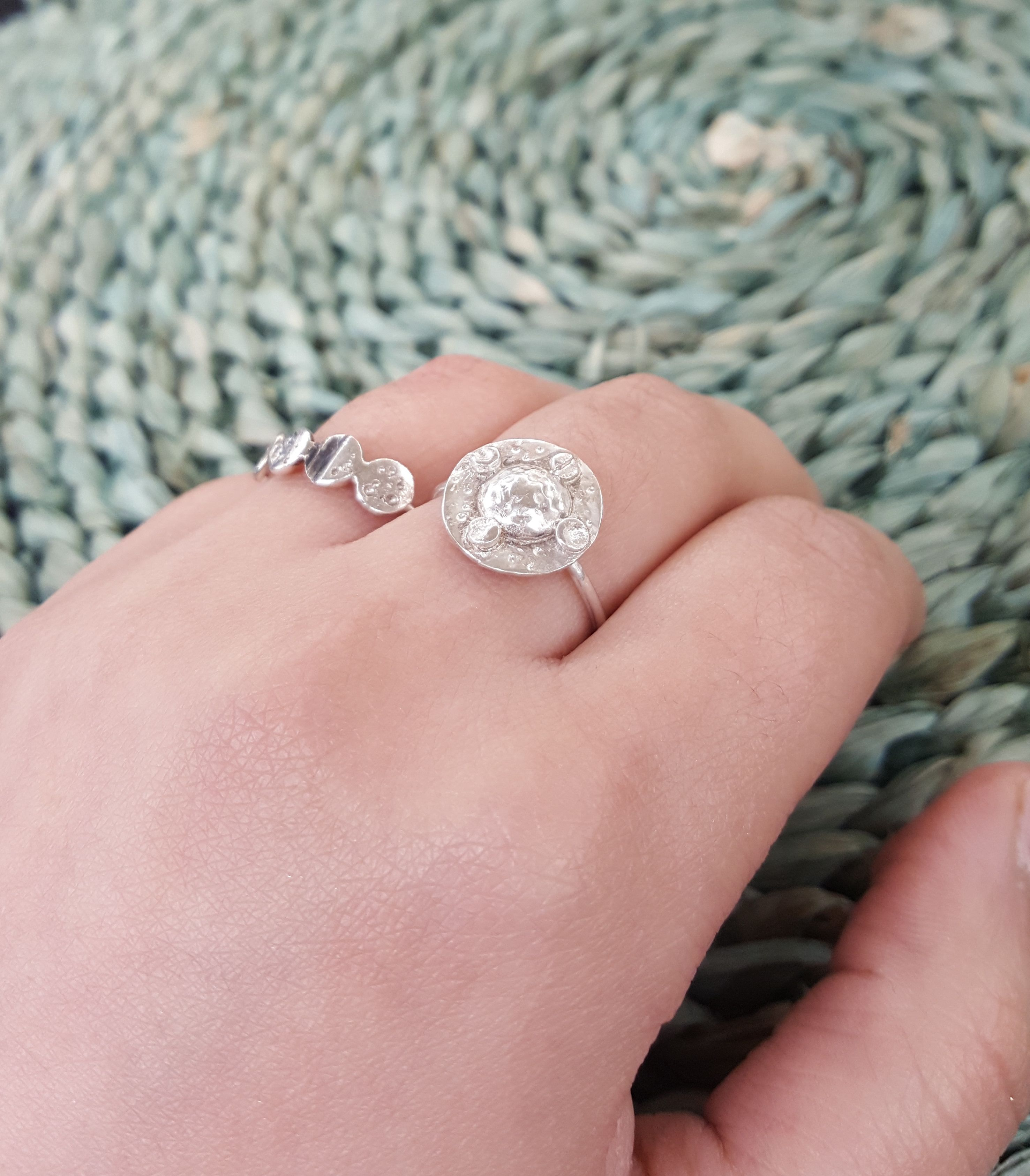 Ruler Of The Moon ring Sterling silver stars and moon, phase ring ...