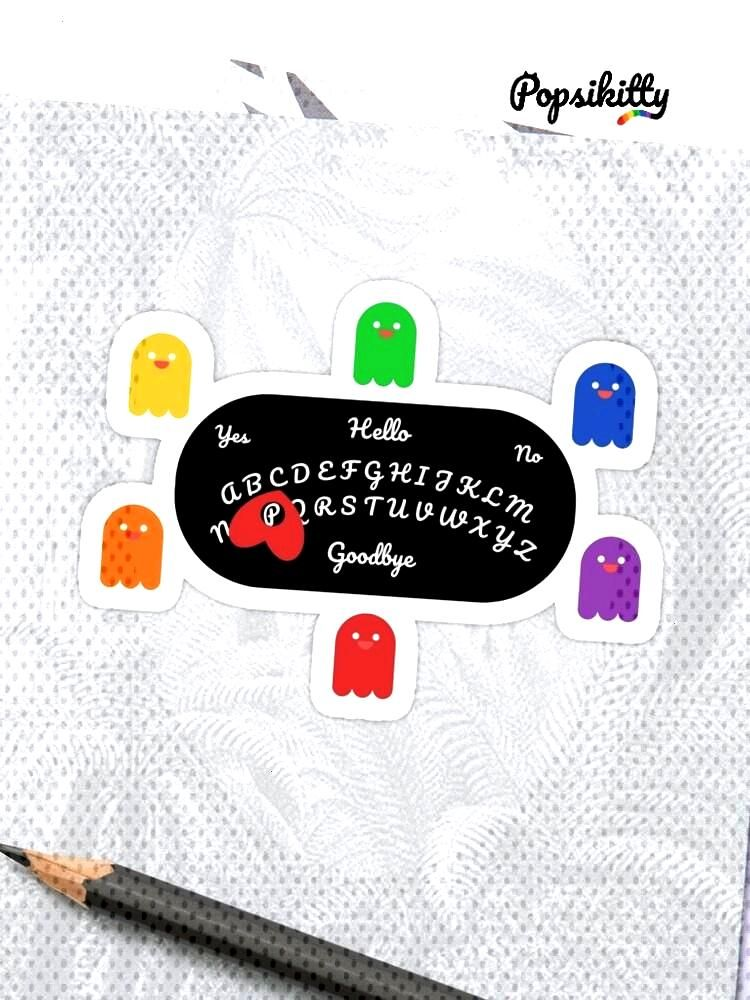 Cute Rainbow Ghosts Spirit Talking Board Sticker Super cute colorful ghosts and a spirit talking bo