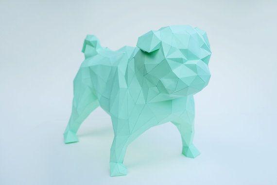 Paper Pug Dog Polygonal Statue Pug Lowpoly Pug Dog By Celadoncraft