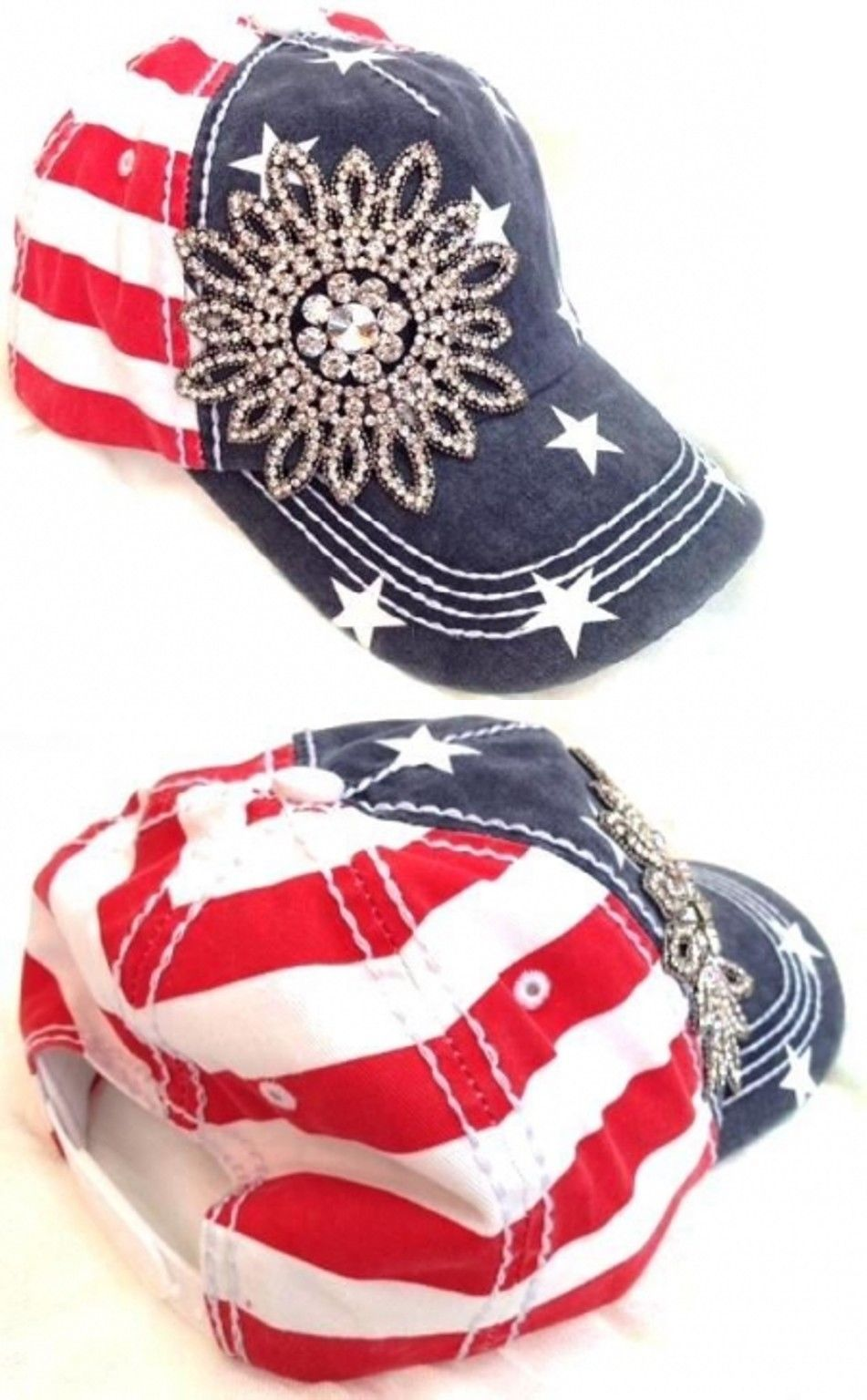 Hats 45230  Olive And Pique American Flag Patriotic Bling Flower Baseball  Cap New -  381b926be22