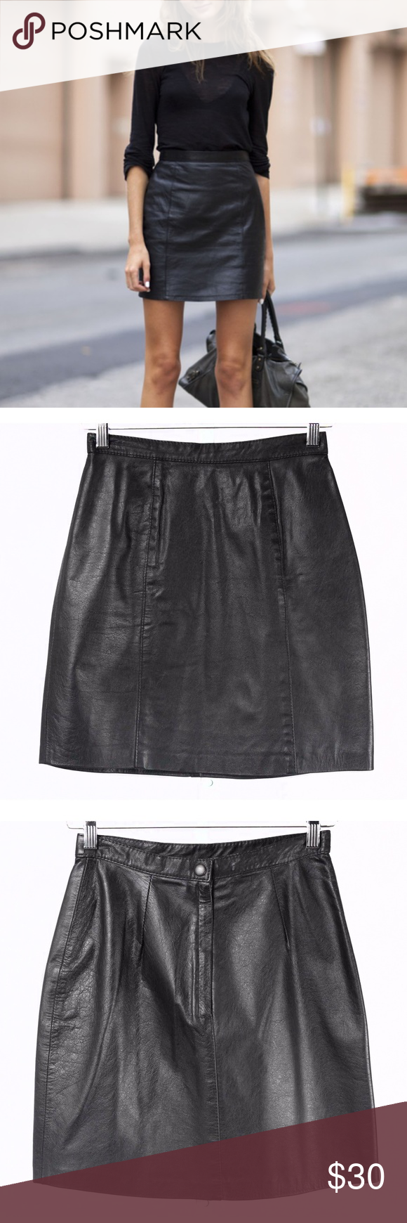 6d7c2aa2d Vintage Comint Black Leather High Waist Skirt Vintage 80s Comint black  genuine leather high waisted pencil