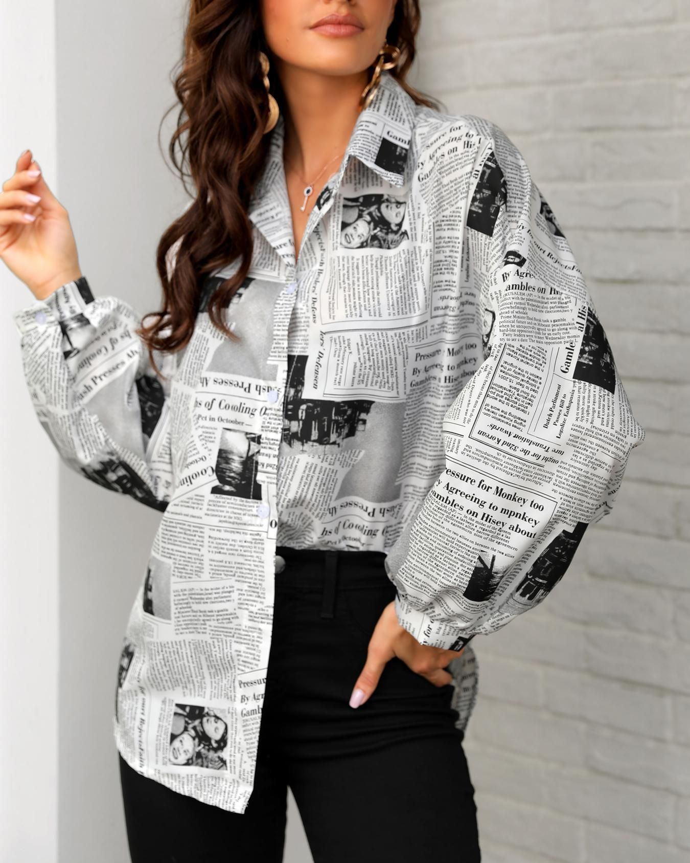 Newspaper Print Long Sleeve Casual Shirt Fashion Long Sleeve Casual Fashion Outfits [ 1687 x 1350 Pixel ]