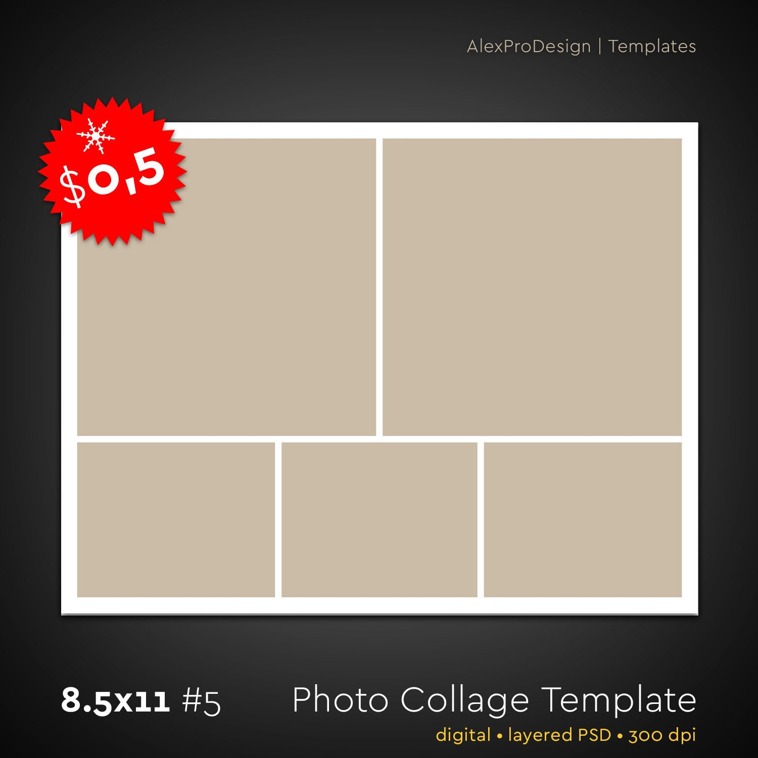 Photo Collage Template 8,5 x 11 #5, 5 photo, Storyboard Template ...