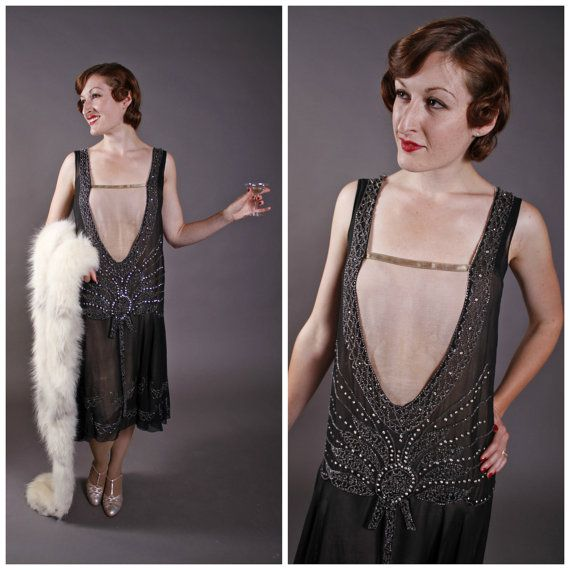 Vintage 1920s Dress Gatsby Glamour Scandalous Beaded By Fabgabs