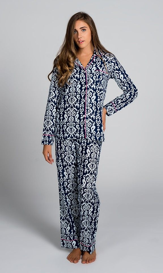 Ikat Navy Pajama Set size L  I do like pajamas with no elastic in the waistband