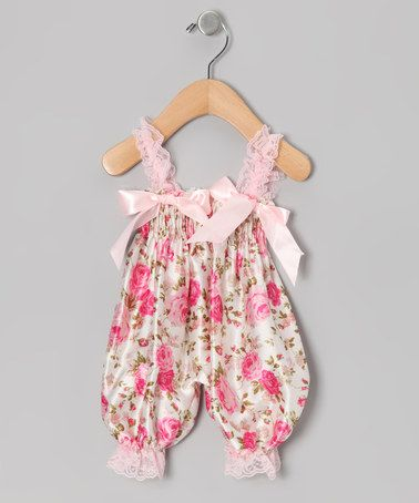 Take a look at this Pink Floral Bubble Romper - Infant by Diva Daze on #zulily today!
