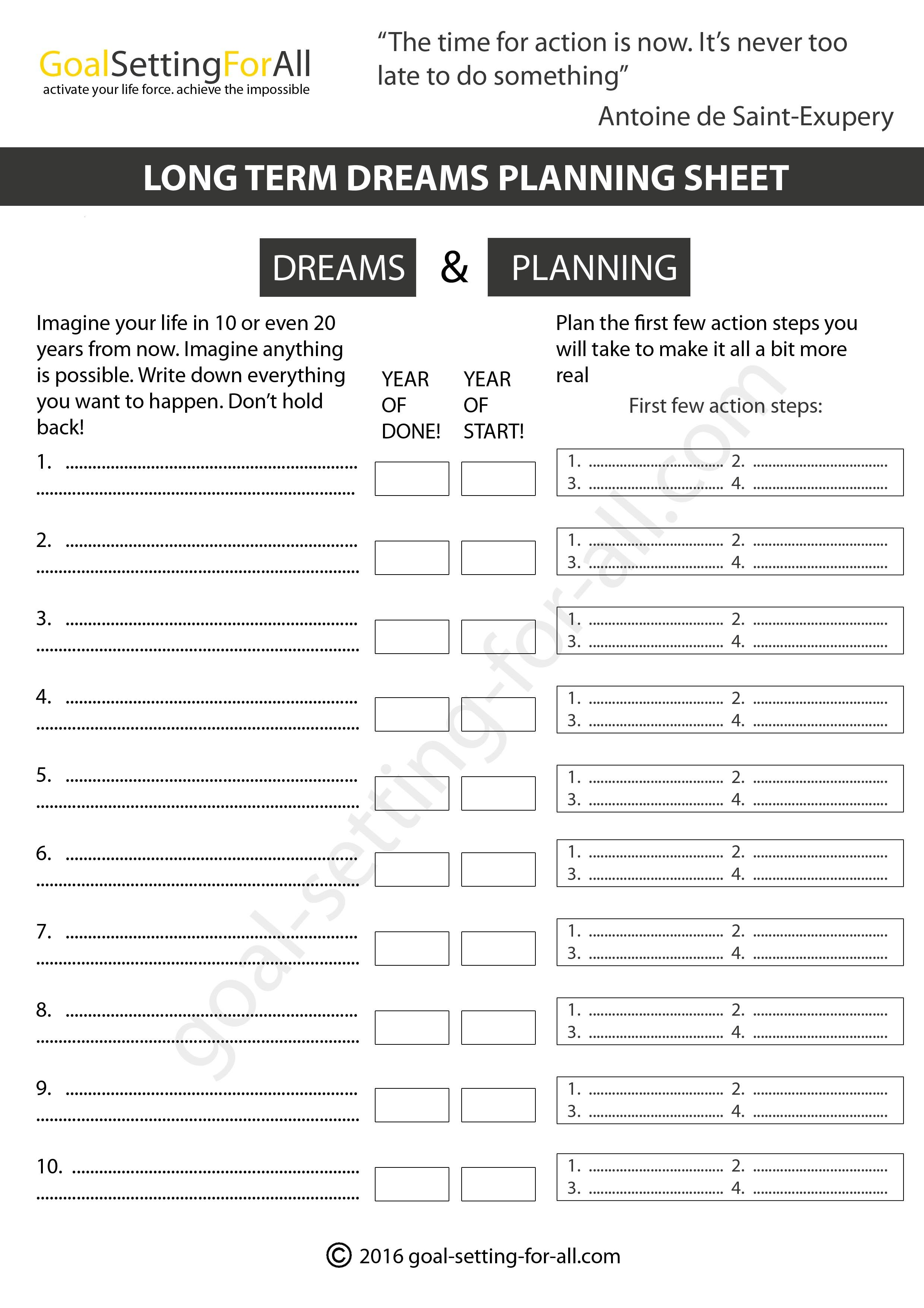 Worksheets Short And Long Term Goals Worksheet you can use these goal setting worksheets to think through your goals and future dreams they include this years long term