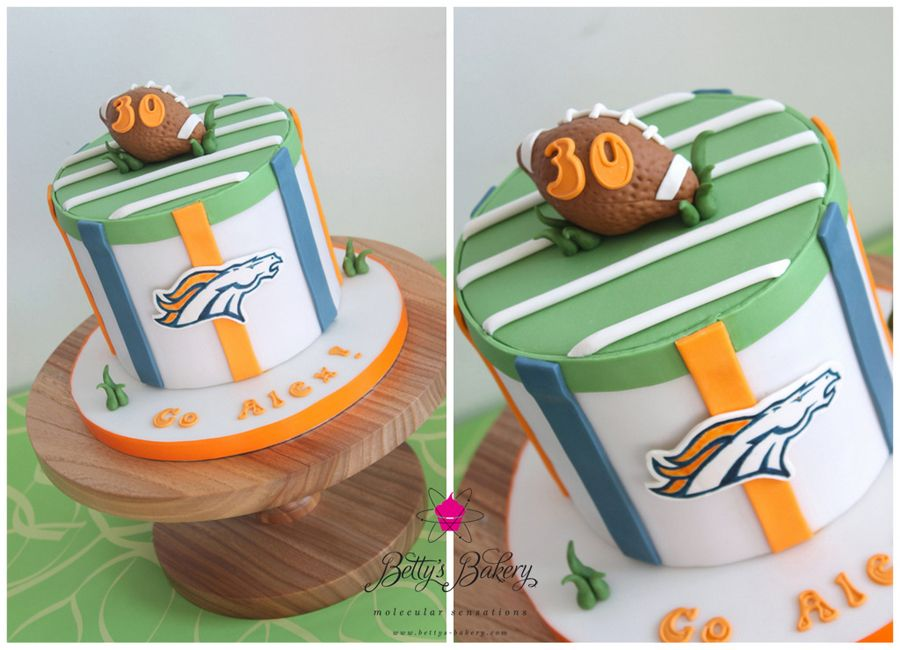Denver Broncos Football Cake with handpainted Logo by wwwbettys