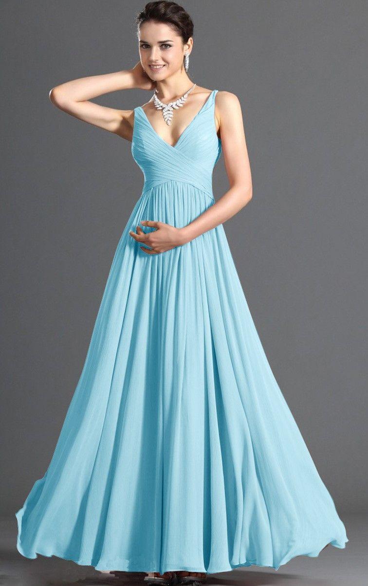 Blue empire aline floorlength dresses bridesmaid dresses