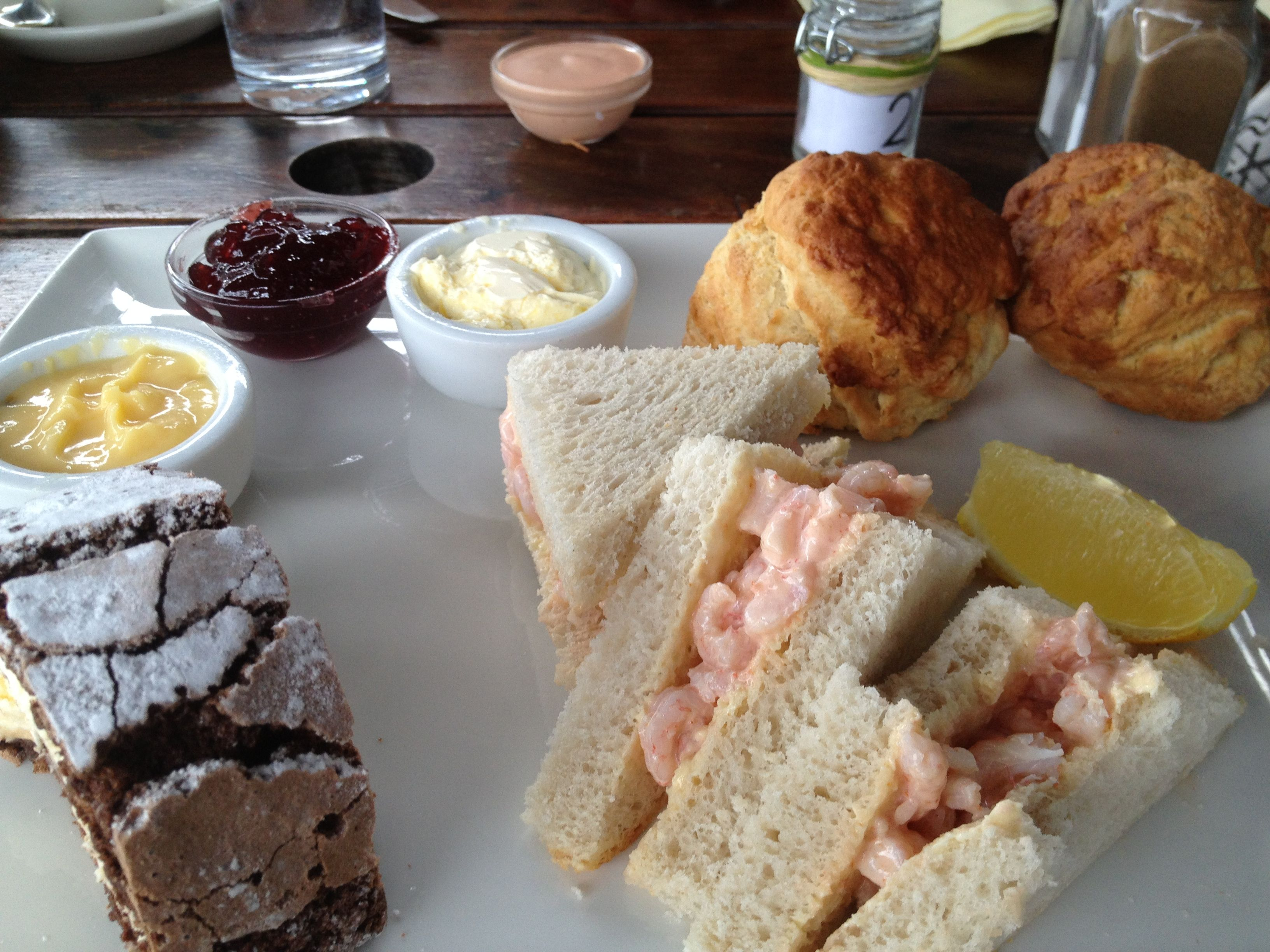 Cream Tea for One at Battlers Green Farm Radlett...I couldn't resist a bite from my Prawn Sandwich