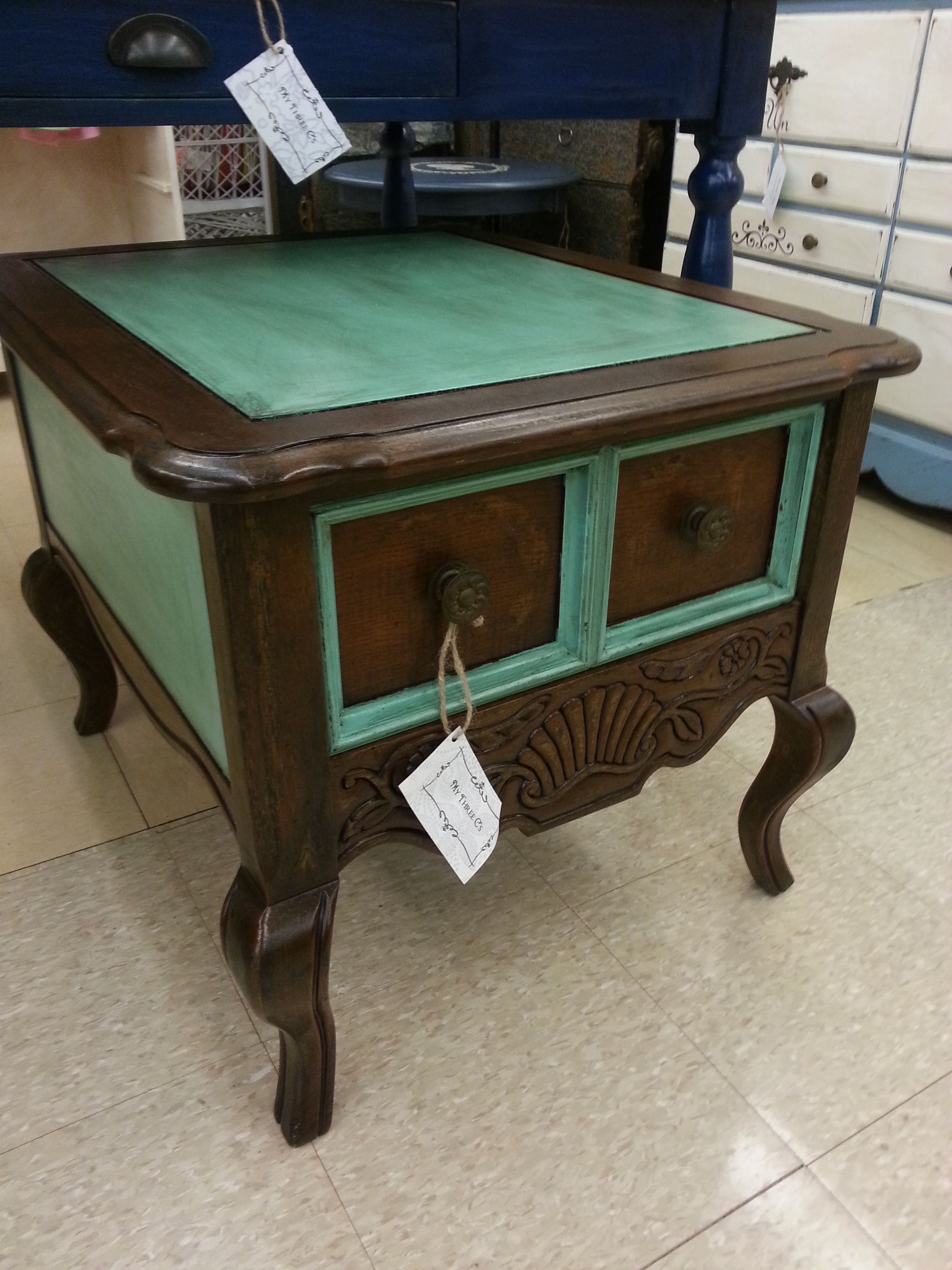 Turquoise And Dark Stained End Table Distressed And