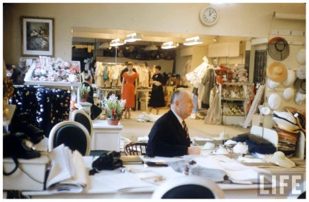 Fashion designer Christian Dior sitting Photo Loomis Dean 1957