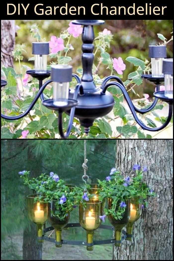 DIY Garden Chandelier | Diy, Outdoor lighting, Easy diy ...