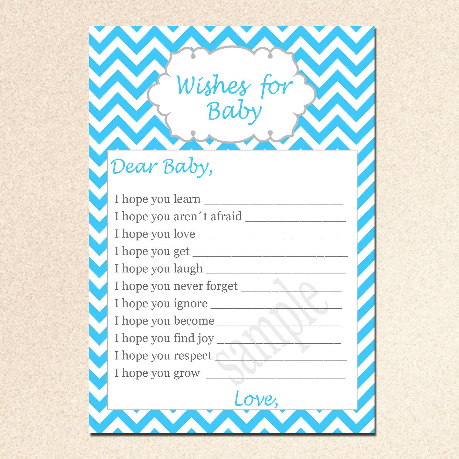 wishes+for+baby | Printable Chevron Wishes for Baby Card - Baby ...