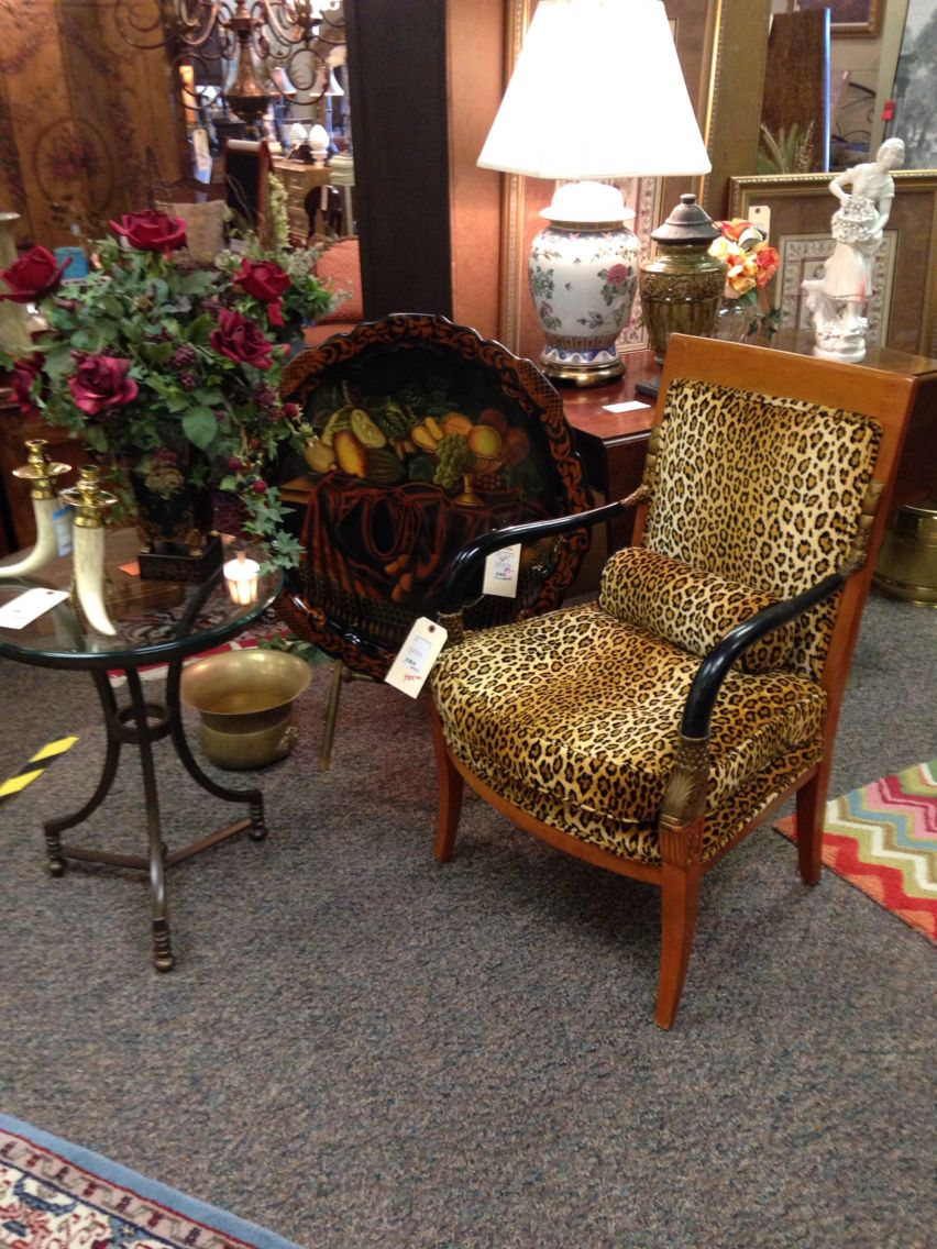 Neoclassical Cheetah Print Chair & Maitland Smith Tray