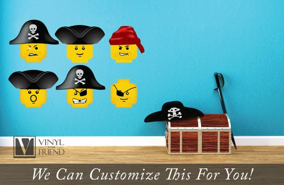 Pirates Minifig Emotion Head Faces Wall Decor Vinyl Decal Digital Print Graphic For Kids Pirate Lego Theme Room Wall Vinyl Decor Pirate Room Theme Vinyl Decals