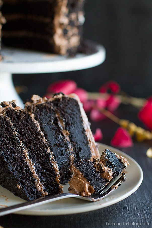 Dark and rich this Dark Chocolate Cake with Nutella Buttercream is