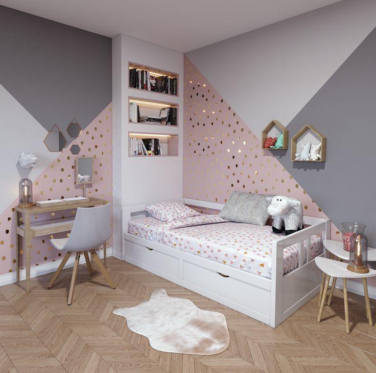 Chambre d'enfant contemporaine rose blanche beige bois: Inspirationsstil Contemporain – worldefashion.com/decoration