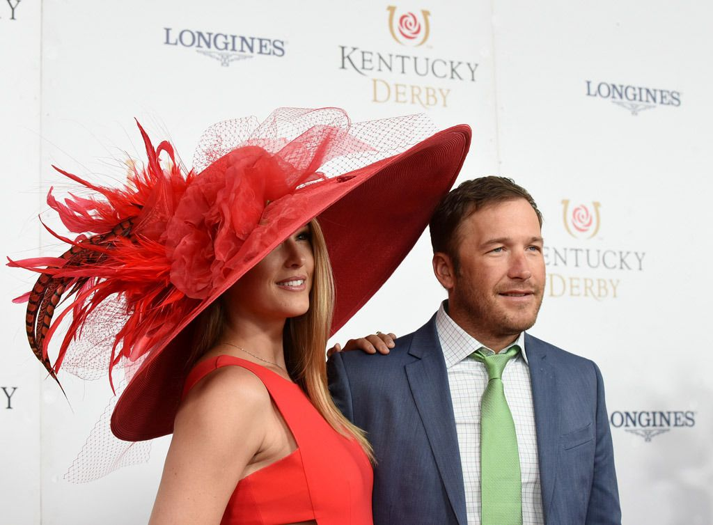 Champion skier Bode Miller, right, and his wife Morgan Beck, on the red carpet, presented by Longines, at the 2017 Kentucky Derby.