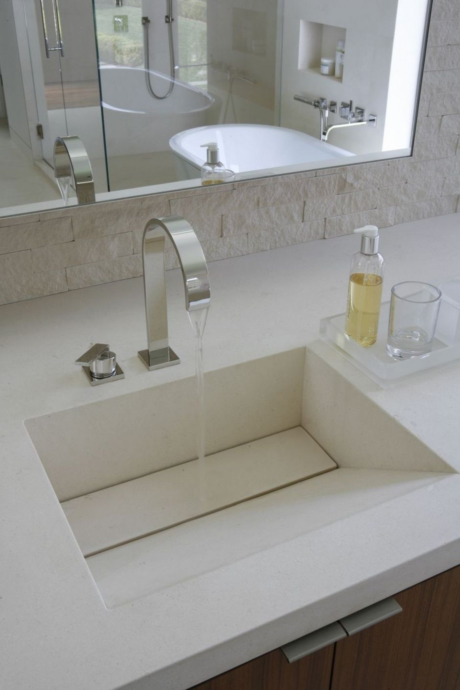Bathroom Modern Powder Room With Stunning Faucet And Sloping Undermount Bathroom Sink Under Clear Large Mirror Modern Bathroom Sink Modern Powder Rooms Sink