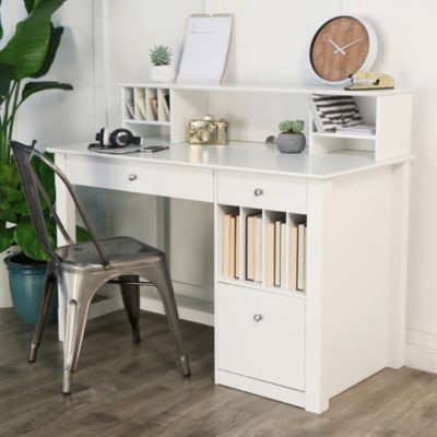 Home Office Deluxe White Wood Storage Computer Desk With Hutch In