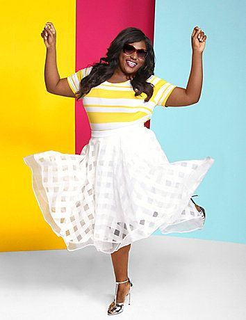 The super-light volume on this Christian Siriano circle skirt is basically the definition of fun. Elastic waistband and zip back. Lined to knee or just above. lanebryant.com