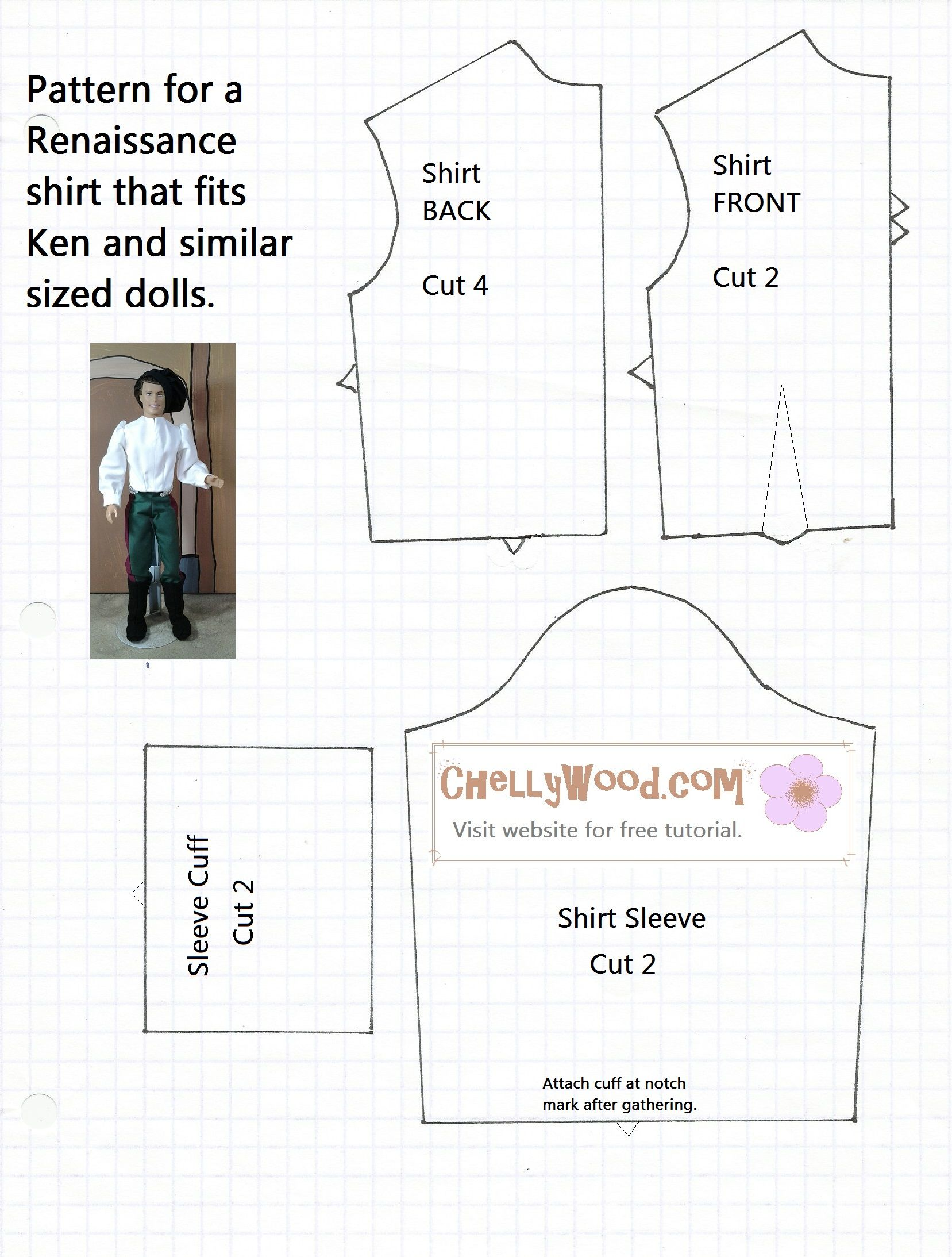 Free shirt pattern for Ken dolls, Twilight\'s Edward Cullen doll, and ...