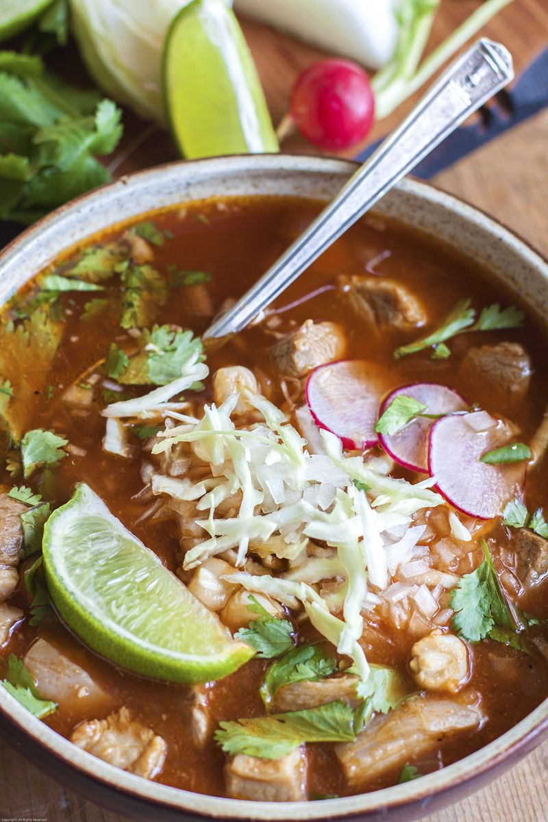 Pozole Rojo Mexican Pork And Hominy Soup With Chiles Our Version Of The Venerable Soup Feeds