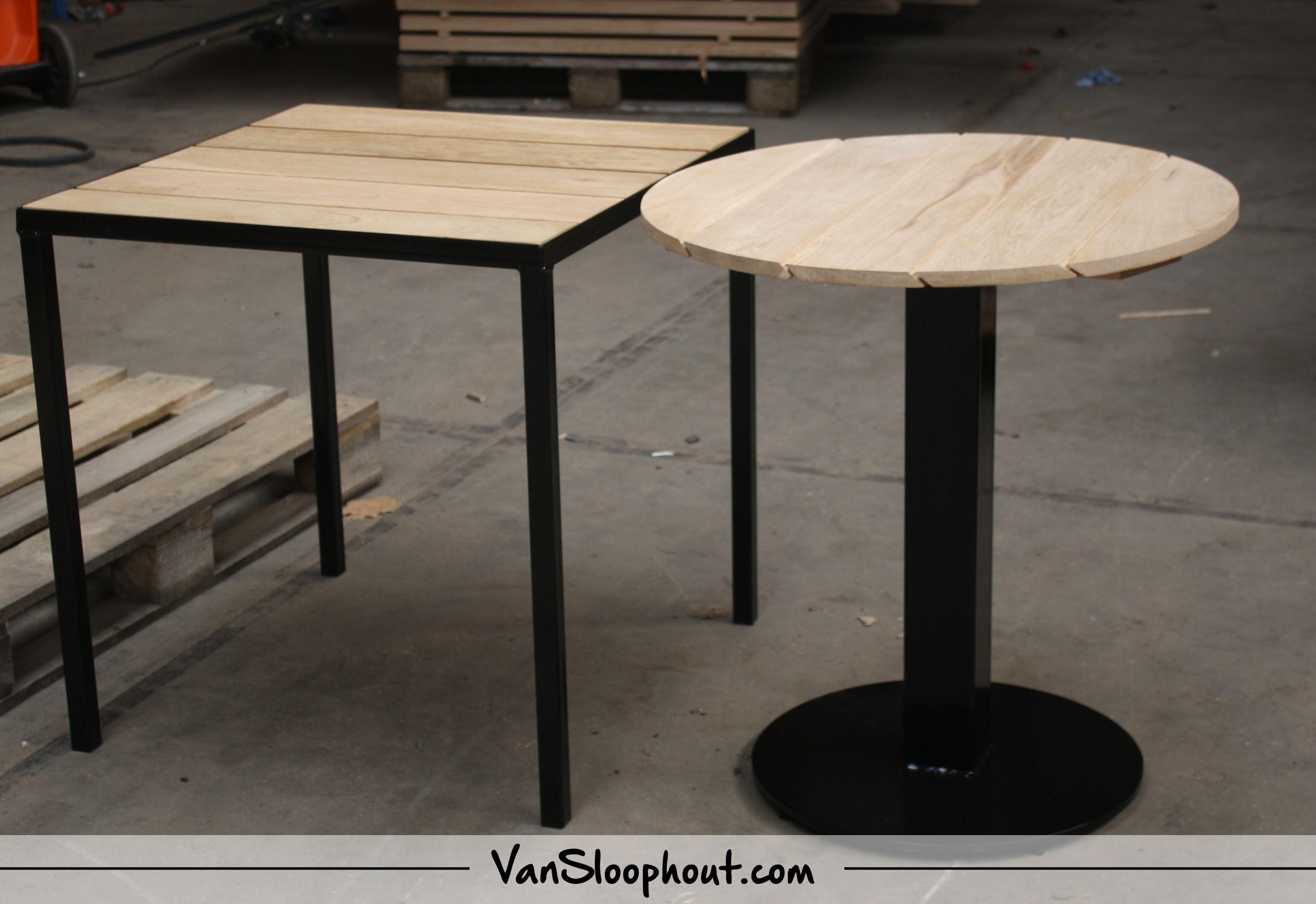 Horeca tafels vierkant en rond van nieuw eiken. het stalen onderstel