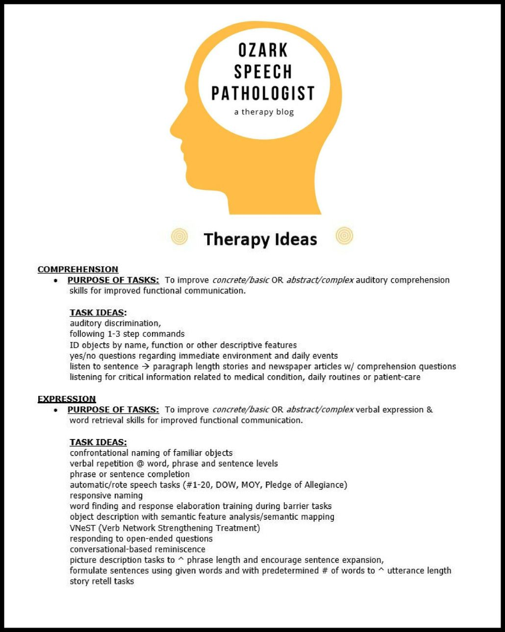 Quick List Of Therapy Activity Ideas For Adult Speech