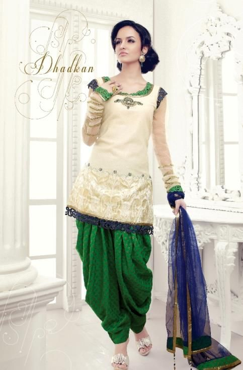 White and green salwar kameez