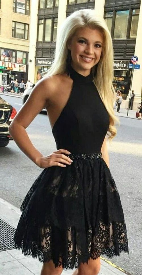 A-Line Halter Backless Short Black Satin Homecoming Dress with ...