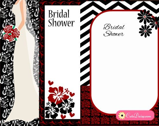 Free Printable Black and Red Bridal Shower Invitations Free