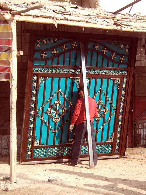 Courtyard door for sale at Bazaar, Hotan, Xinjiang, China