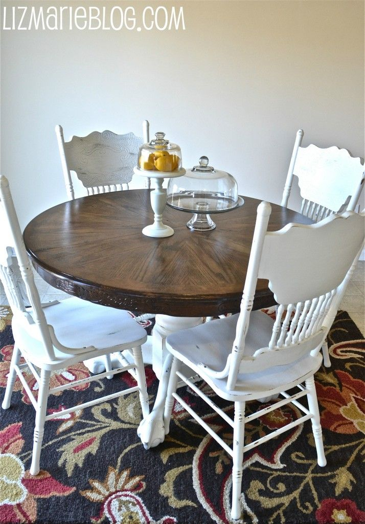 Wood Stain & White Kitchen Table | Kitchen table makeover ...