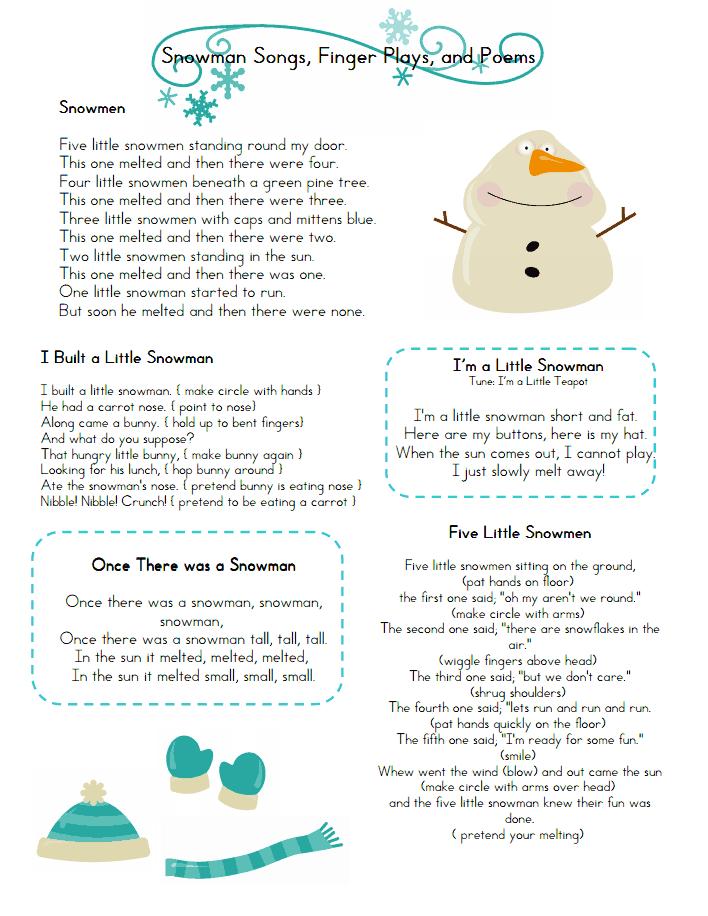 Snowman Songs Fingerplays.pdf   4K   Pinterest   Reime, Englisch und ...