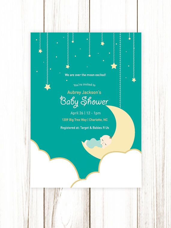 Over the Moon Baby Shower Invitation Gender Neutral Baby Boys