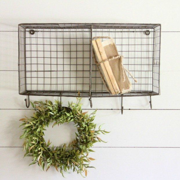 Horizontal Wire Wall Basket Rack With Hooks Wire Wall Basket Baskets On Wall Basket