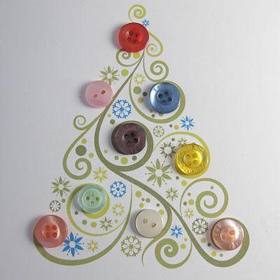 Button It Via Tays Rocha Button Art Mais Inspiracoes Com Christmas Tree Cards Button Crafts Christmas Cards