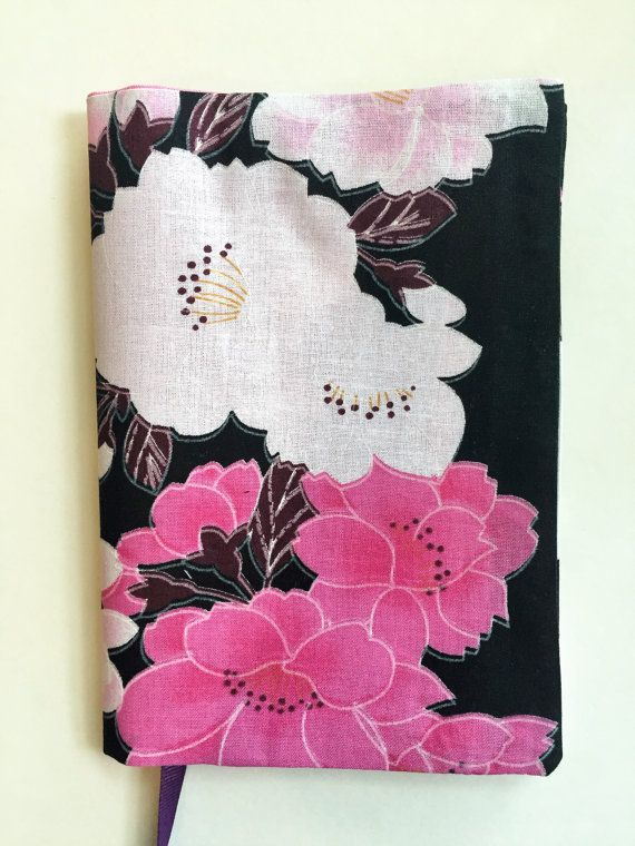 Paperback Book Cover for Standard Size Paperback Book, Fabric Book Cover, Pink Floral Fabric, Pink Flowers, Book Cover, Black Background