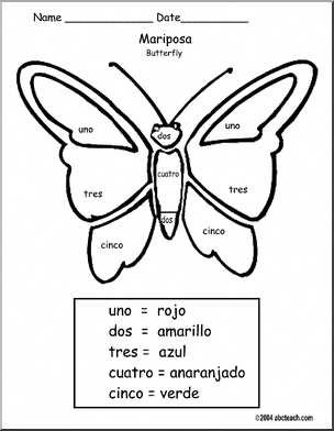 Spanish Colorea Por N Mero Mariposa Colorea Por N Mero Mariposa Color By Number Butterfly Spanish Lessons For Kids Teaching Spanish Spanish Curriculum