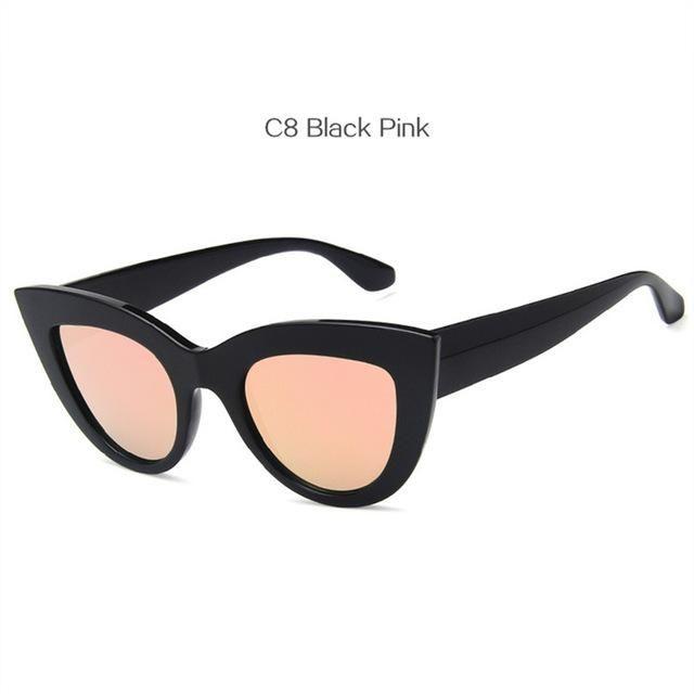 39fc7bebec UVLAIK Vintage Cat Eye Sunglasses Women Big Round Sun Glasses Ladies Mirror  Cateye Women s Glasses Brand