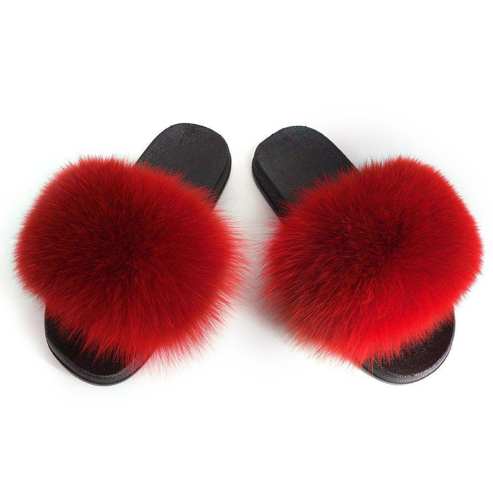 9003a55fbb498 Manka Vesa Women Real Fox Fur Feather Vegan Leather Open Toe Single ...