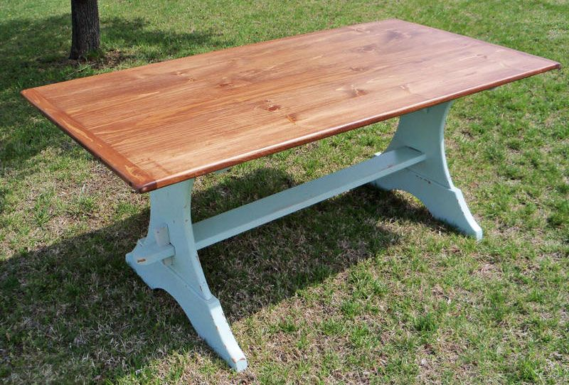 X Country Farm Table Crescent Trestle Base Chestnut - Farm table trestle base